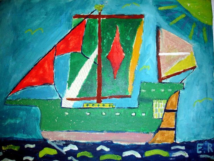 Caravelle-ER, 33x41cm, peinture à l'huile