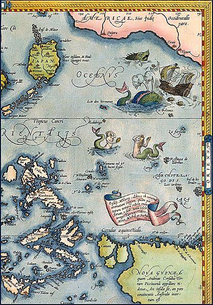Sirènes dans la mer des cartes