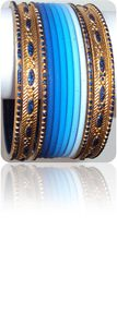 Tie&amp;Dye Bracelets Bangles Indiens Bleu Clair
