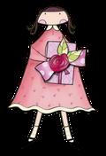 fille fleur en main