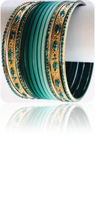 Tie&amp;Dye Bracelets Bangles Indiens Vert Emeraude