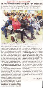 Ouest-France 25 Novembre 2014