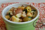 Salade pomme de terre olive pois chiches ciboulette oignon