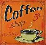 plaque émaillée coffee shop vintage