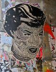 Street-art: Stinkfish, visage de femme couvert de tatouages