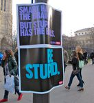Be stupid, street-marketing, affichage sauvage par Diesel