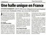 On parle de nous dans le journal : Article du PN sur les nouvelles machines de conditionnement de la Halle GCE.