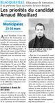 Municipales 2014 : Les priorités du candidat Arnaud MOUILLARD (Paris Normandie) #Blacqueville