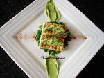 Tofu ferme grillé au thym sauce à l'avocat/salade de persil