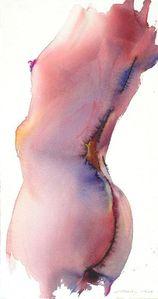 Femme 4-11-2011 (Aquarelle 76 x 40 cm sur papier Arches 640