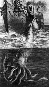The Alecton attempts to capture a giant squid in 1861