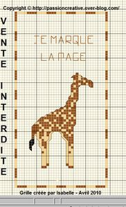 Marque page Girafe