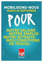 Affiche CGT action 10 septembre 2013
