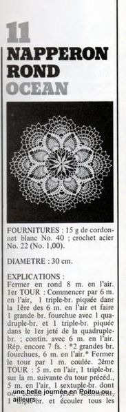 napperon crochet d'art N° 4 explications 1