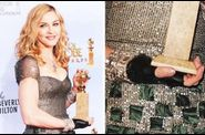 Madonna 2012 Golden Globe Awards collecting the award