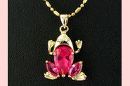 Pendentif FROOGY or jaune rubis orchidee  02