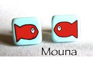 Boucles puces Albert le poisson rouge 1  DISPONIBLE: 10 euros.
