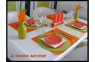 table printanière orange et anis