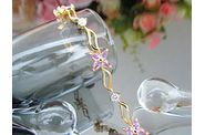 bracelet EDEN or jaune saphirs roses 03