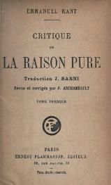 -Kant - Critique de la raison pure, traduction Barni, Flamm