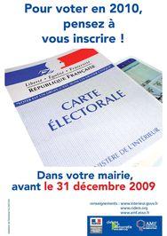 Inscription Listes électorales avant le 31 décembre 2009