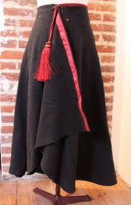 Jupe drapée en lainage anthracite