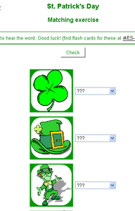 St Patrick's Day matching exercise