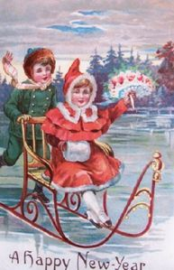 419-happy-new-year-children-sled-vintage-postcard