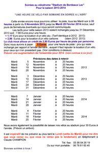 Programme Vélodrome 2013-2014