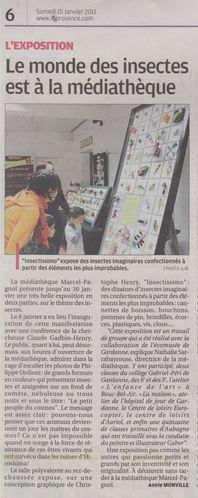 LaProvence150111ArticleExpoInsecteMediathqAubagne