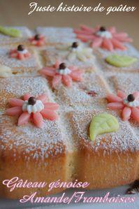 gâteau génoise amande-framboises