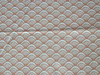 Tissu Rosemary Lavin marron avec arcs bleus 50x55cm 4,50
