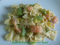 Salade de pâtes au saumon et à l'avocat