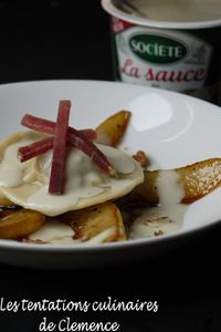raviolis crème de roquefort poire figue, jambon c-copie-1