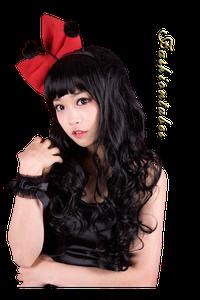 femme chinoise brune petit noeud rouge pompon noir