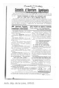 TRACT CONSEILS OUVRIERS 1919 Arch. dép. de la Loire, 1M515