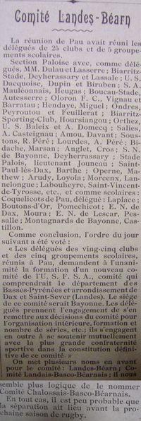 Création Comité 14-5-1911