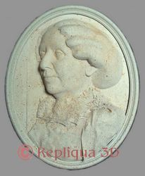 George Sand portrait sculpté en semi-relief - Repliqua3D sculpteur portraitiste