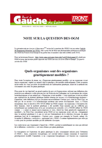 Note sur la question des OGM