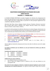 Invitation Selections France clubs 2012 Valence document 1