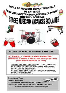 Affiches Stage Vacances Scolaires Avril 2013