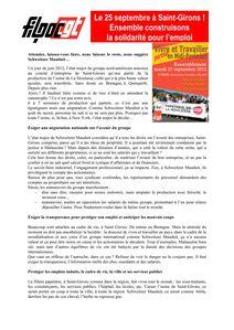 Appel FILPAC CGT Manifestation 25 09 2012 à Saint-Girons