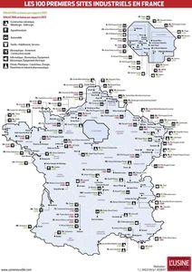 Carte des cent premiers sites industrels de France Usine No