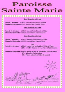 Horaires Ste Marie