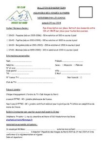 inscriptions aquathlon 24 mai 2014