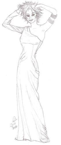 Dessin de fille en robe de soiree