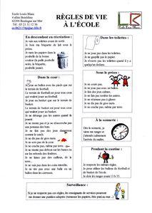 Règles de vie à l'école louis blanc
