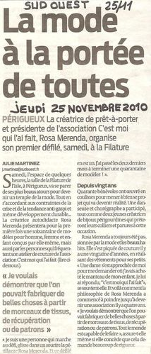 Article Presse 9 Sud Ouest 25 11 2010