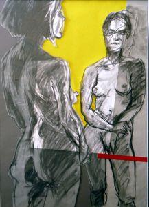 3-Face à face. 2012, encre et papier collé sur calque, 70