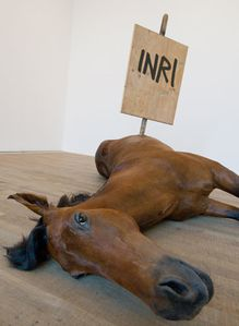 1960 Maurizio-Cattelans-Untitled-dead-horse-with-a-stick-in